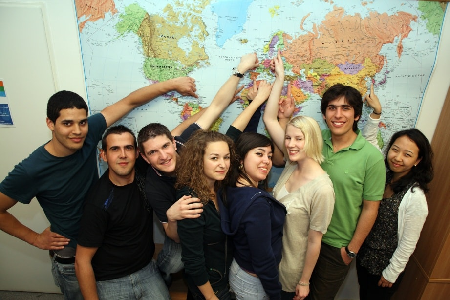 students at the map